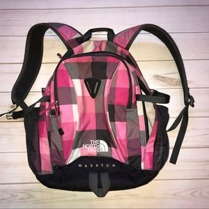 The North Face Wasatch Pink Plaid Backpack